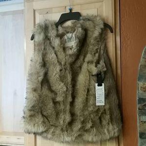 BB Dakota Multicolor Faux Fur Vest NWT